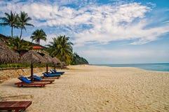 Ладони и sunbeds песка троповые Самые лучшие пляжные комплексы Kuantan Роскошные каникулы на кристалле - чистых водах и древних п стоковое изображение