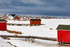 Лачуги Джо Outport Batts остров NL Канада Fogo руки стоковые изображения