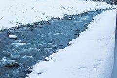 Лед на Реке Delaware причаливая зазору воды Делавера на Нью-Джерси стоковые фото
