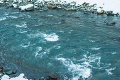 Лед на Реке Delaware причаливая зазору воды Делавера на Нью-Джерси стоковое фото