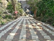 Лестницы к спуску потока к водопаду стоковая фотография rf