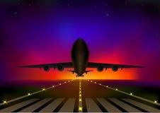 Летание самолета на фоне неба звездной ночи th, горизонтальной иллюстрации вектора бесплатная иллюстрация