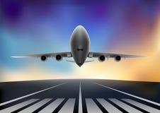 Летание самолета на фоне th покрасило небо, горизонтальную иллюстрацию вектора бесплатная иллюстрация