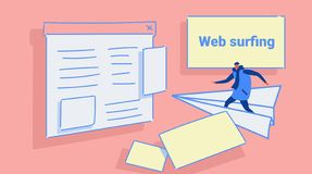 Летание человека на бумажном самолете к парню концепции сети браузера страницы вебсайта занимаясь серфингом случайному в одеждах  иллюстрация вектора