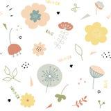 Лета doodle руки картина вычерченного флористическая безшовная бесплатная иллюстрация