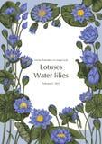 Лилии лотоса и воды, водоросли Иллюстрация вектора в типе год сбора винограда Vegetable чертеж иллюстрация вектора