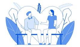 Линия говорить современного мультфильма плоская характеров людей романтичный, тонкая иллюстрация стиля контура Характер плана мол иллюстрация вектора