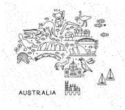 Линия значки перемещения Австралии составляет карту Плакат перемещения с животными и осмотр достопримечательностей привлекательно иллюстрация штока