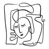 Линия искусство простой руки вычерченная черно-белая ультрамодная портрета Абстрактный состав иллюстрация вектора