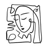 Линия искусство простой руки вычерченная черно-белая ультрамодная портрета Абстрактный состав бесплатная иллюстрация
