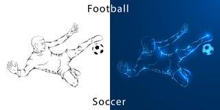 Линия чертеж Иллюстрация показывает что футболист пинает шарик иллюстрация вектора