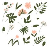 Set of various elements of nature royalty free illustration
