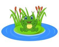 Лягушка шаржа на лист в пруде бесплатная иллюстрация