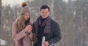 Любящие человек и женщина пар в чае леса зимы выпивая от thermos Стильные человек и женщина в пальто в видеоматериал