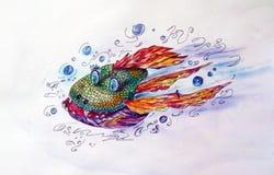 Любознательная рыбка для детей,рыба, акварельная иллюстрация, мультик, royalty free illustration