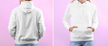 Люди в пустых свитерах hoodie на предпосылке цвета, крупном плане стоковая фотография