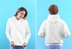 Люди в пустых свитерах hoodie на предпосылке цвета, фронте и задних взглядах стоковые изображения