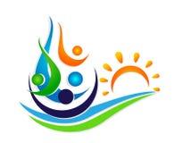 Люди греют на солнце команда соединения моря волны воды празднуя дизайн логотипа элемента значка символа здоровья счастья на бело иллюстрация вектора