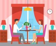 Люди имея обедающий в кафе с красным интерьером иллюстрация вектора