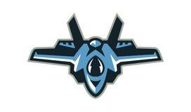 Логотип бойца, перехватчик, воздушное судно Воинское оборудование Иллюстрация вектора, плоский стиль иллюстрация вектора