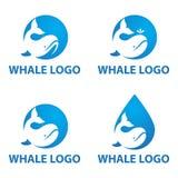 Логотип кита в круге с отрицательной концепцией космоса бесплатная иллюстрация