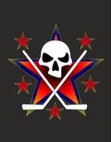 лого. Череп с клюшками на фоне звезд.Skull with sticks against the stars Stock Image
