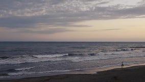 Мальчик идя на пляж на заходе солнца акции видеоматериалы