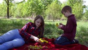 Мама и сын соткут венок одуванчиков сидя на шотландке в парке Весна, день, солнечный видеоматериал