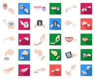 Манипуляция мультфильмом рук, плоскими значками в установленном собрании для дизайна Вручите движение в сети запаса символа векто иллюстрация штока