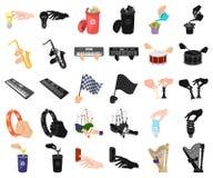 Манипуляция мультфильмом рук, черными значками в установленном собрании для дизайна Сеть запаса символа вектора движения руки иллюстрация вектора