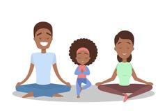 Мать и дочь делая тренировку йоги Здорово бесплатная иллюстрация
