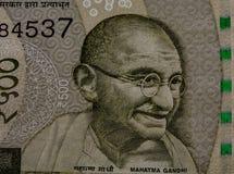 Махатма Ганди на примечании 500 рупий стоковое изображение rf