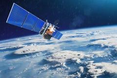 Метеоспутник для наблюдать сильными грозами штормов и торнадо в космосе двигая по орбите земля Элементы этого изображения стоковая фотография rf