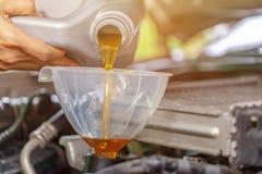 Механик обслуживать обслуживания автомобиля лить новую смазку масла в двигатель автомобиля Селективный фокус стоковые изображения rf