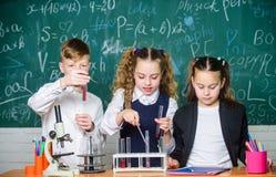 Микроскоп лаборатории студенты делая эксперименты по биологии с микроскопом Маленькие ребята уча химию в лаборатории школы стоковое фото