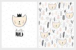 Милая карта и картина вектора детского душа Сладкий кот младенца нося черную крону иллюстрация штока