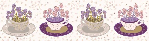 Милая чашка цветка с букетом границы pansies Безшовный повторять иллюстрация штока