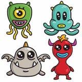Милые дизайны характера чудовища установили красочный шаблон вектора мультфильма иллюстрация штока