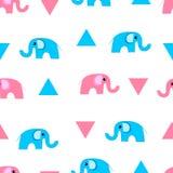 Милые слоны мультфильма и картина вектора trianbles безшовная Упаковочная бумага, ткань Печать младенца иллюстрация штока