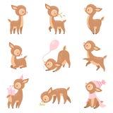 Милые олени младенца, прелестное животное леса Брауна в различных ситуациях установили иллюстрацию вектора иллюстрация штока