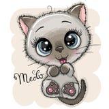 Милый котенок мультфильма с большими глазами бесплатная иллюстрация