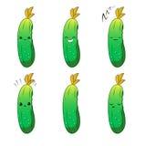Милый набор символов вектора овоща мультфильма изолированный на белизне взволнованности стикеры иллюстрация вектора