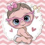 Милый ребенок в розовых eyeglasses иллюстрация штока