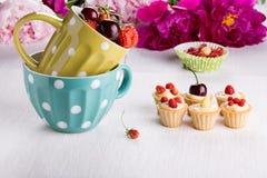 Мини tartlets с заварным кремом и свежими ягодами стоковые фото