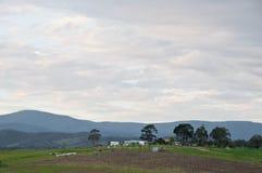 Мирная выравниваясь сцена сельской местности и mountainrange долины Yarra около Мельбурна Австралии стоковые фотографии rf