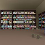 Много книг на книжных полках и стеклах, переводе 3D стоковая фотография