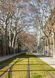 мстителей Барселона Урбанско Взгляд Трамвайная линия стоковое изображение rf