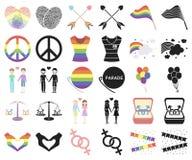Мультфильм гея и лесбиянка, черные значки в установленном собрании для дизайна Сексуальные меньшинство и атрибуты vector сеть зап иллюстрация штока