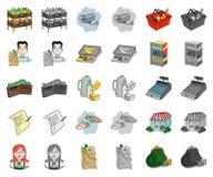 Мультфильм супермаркета и оборудования, значки monochrom в установленном собрании для дизайна Приобретение запаса символа вектора бесплатная иллюстрация