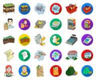 Мультфильм супермаркета и оборудования, плоские значки в установленном собрании для дизайна Приобретение сети запаса символа вект иллюстрация вектора